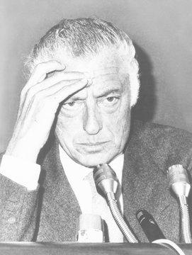 Giovanni Agnelli, President of the Fiat Auto Company, at a Rome press conference, Oct. 14, 1975