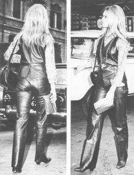 Brigitte Bardot wearing a striking leather suit as she strolls near the Spanish Steps in Rome
