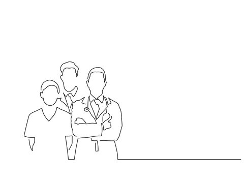 Medical team isolated line drawing, vector illustration design. Medicine collection.