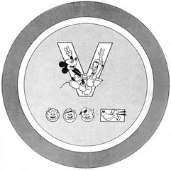 Der Fuehrer's Face, Mickey Mouse and Donald Duck form a 'v' for victory; The Three Little Pigs and Pluto form the morse code for 'v', design for sheet music from the Walt Disney cartoon, 1942