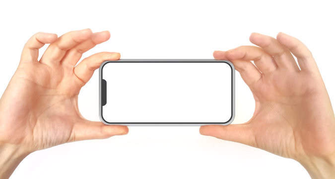 Two Hands Holding Mobile Phone With White Screen