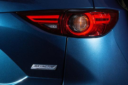 Kyiv, Ukraine - August 16, 2019: New Mazda CX-5 back door and  lamp close-up