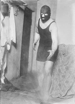 Man in wrestling mask, circa 1940s