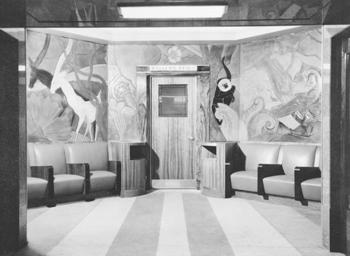 Cincinnati Union Terminal, linoleum sculpture, entrance to women's room, constructed in 1933, partially demolished in 1974, Cincinnati, Ohio, photograph circa early 1970s