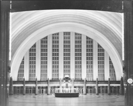 Cincinnati Union Terminal, concourse looking east, constructed in 1933, partially demolished in 1974, Cincinnati, Ohio, photograph circa early 1970s