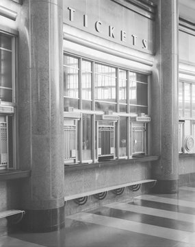 Cincinnati Union Terminal, ticket booths, constructed in 1933, partially demolished in 1974, Cincinnati, Ohio, photograph circa early 1970s