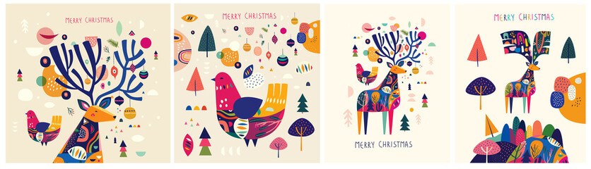 Fotomurales - Christmas decorative illustrations with colorful deer and bird.