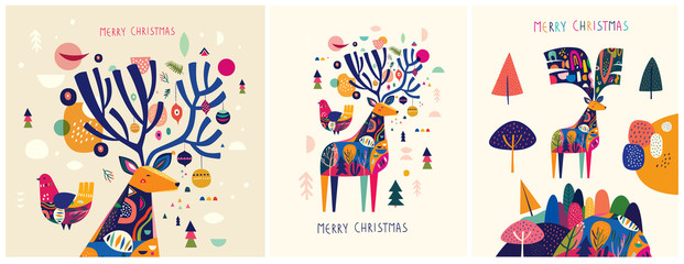 Fotomurales - Christmas decorative illustrations with colorful deer.