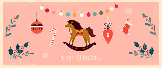 Fotomurales - Christmas banner with horse and Christmas toys in vintage style