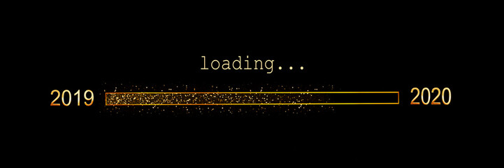 2020 loading, gold glitter progress bar on black background, new year panoramic holiday web banner or greeting card