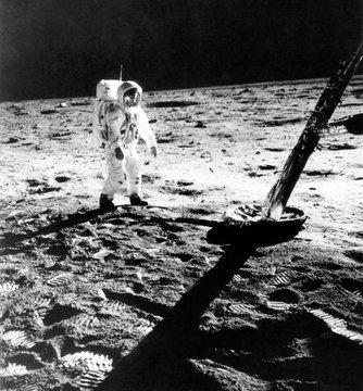 Astronaut Edwin E. Aldrin (aka Buzz Aldrin), on the moon, in a photograph taken by Neil Armstrong
