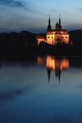 Late evening view of the illuminated basilica