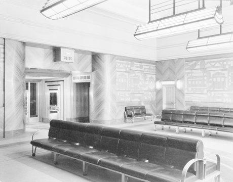 Cincinnati Union Terminal, men's lounge, constructed in 1933, partially demolished in 1974, Cincinnati, Ohio, photograph circa early 1970s
