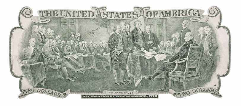 Declaration of independence, 1776 on the back of a two dollar banknote isolated on white background.
