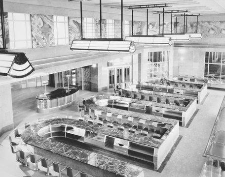 Cincinnati Union Terminal, lunchroom, constructed in 1933, partially demolished in 1974, Cincinnati, Ohio, photograph circa early 1970s