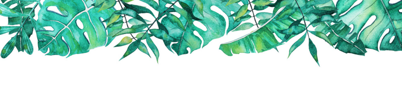 Long banner template with watercolor tropical leaves
