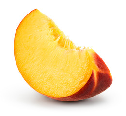Peach slice on white background. Sliced peach isolated. With clipping path.