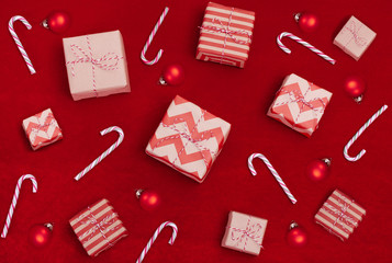 Christmas background with gift boxes..