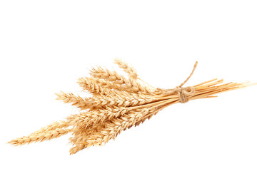 Sheaf of wheat ears isolated on a white background