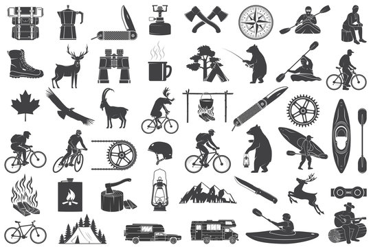 Set of Hiking and Camping icons isolated on the white. Vector. Set include fishing bear, mountains, knife, tent, cup, coffee, goat, gas stove, water sports equipment, forest silhouette