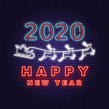 Happy New Year 2020 neon sign with santa claus in sleigh. Vector. New 2020 Year template, greeting card, flyer, poster, website. Neon sign with santa claus for banner, romotion or advertisement.