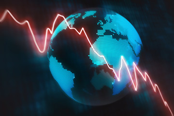 Illustrated concept wth a glowing red line graph decreasing at a fast rate with an abstract globe background
