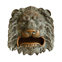 Decorative element in the form of a bronze lion head isolated on white background