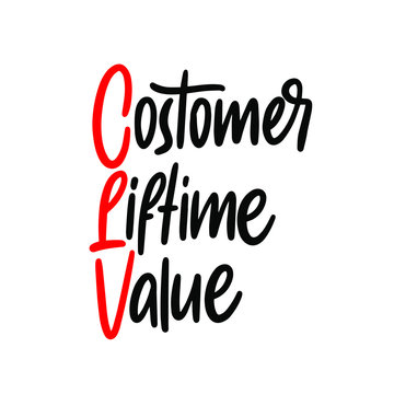Hand writing Customer Lifetime Value (CLV), vector concept acronym