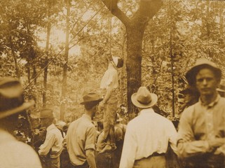 Lynching of Leo Frank (1884-1915), Marietta, Georgia.Accused of the rape and murder of a 13 year old girl, Frank's trial was biased by newspaper sensationalism and Anti-Semitism. After the lynching, half of the Jewish population fled Atlanta