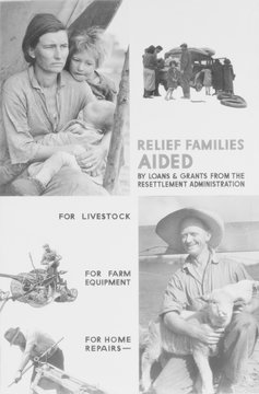 """United States Resettlement Administration posters promotes its relief services to farmers using Dorothea Lange's classic Migrant Madonna photo."""", u""""The roots of the Resettlement Administration were in the Federal Emergency Relief Act of FDR's First Hundred Da"""