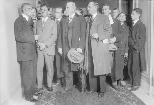 Henry Ford 1863-1947 with reporters on December 2 1915 the year he sponsored the Ford Peace Ship
