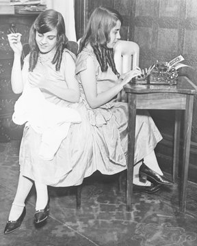 Daisy and Violet Hilton (1908-1969), British born conjoined were trained as entertainers by their exploitive caretakers