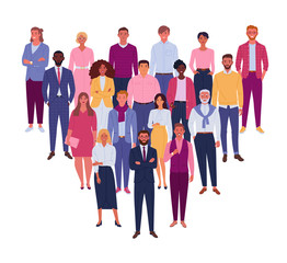 Modern business team. Vector illustration of diverse business people and company members, standing behind each other. Isolated on white.