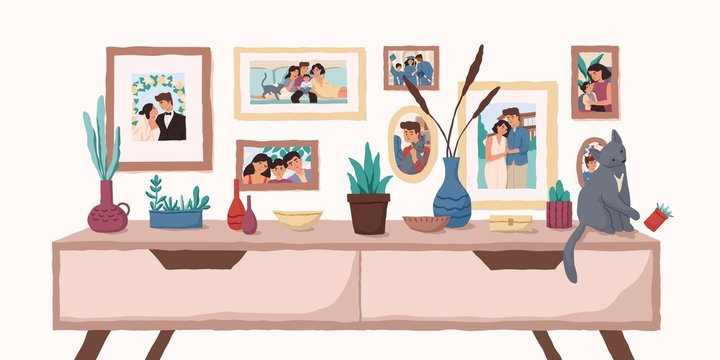 Family portraits on wall flat vector illustration. Important events memorable photographs in home interior. Life moments captured on pictures. Family values, happy memories concept.