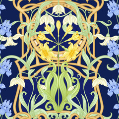 Spring flowers seamless pattern, background. Colored vector illustration. In art nouveau style, vintage, old, retro style. Isolated on white background..