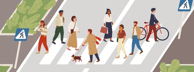 People at crosswalk flat vector illustration. Urban lifestyle concept. Male and female pedestrians crossing city street cartoon characters. Multiethnic community members. Rush hour idea.
