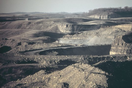 An artificial Badlands describes the scarred landscape after coal strip mining by the Hanna Coal Company in southeastern Ohio