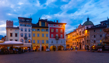 Poster de jardin Europe de l Est Evening view of the streets of Trento. Italy