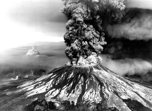 Mount St. Helens on the first day of eruption on May 18 1980