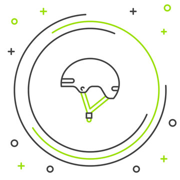 Black and green line Helmet icon isolated on white background. Extreme sport. Sport equipment. Colorful outline concept. Vector Illustration