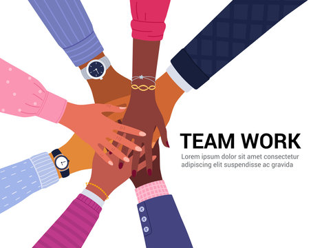 Team work concept. Vector illustration of young diverse business people putting their hands together. Place for your text. Isolated on white.
