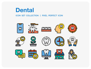 Dental Icons Set. UI Pixel Perfect Well-crafted Vector Thin Line Icons. The illustrations are a vector.
