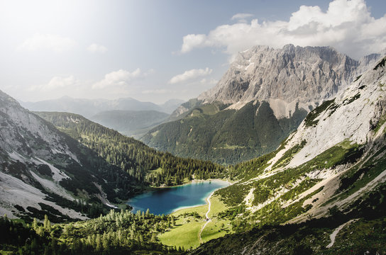 Mountain view landscape in Austria with Zugspitze in background