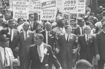1963 March on Washington. Civil Rights leaders at the front of the march: Whitney Young, Roy