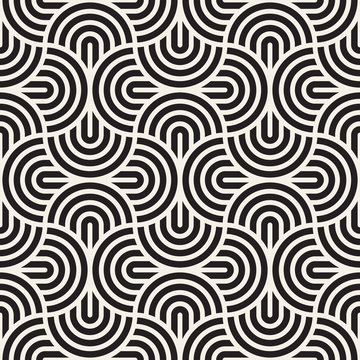 Vector seamless pattern. Concentric bold circles. Geometric striped ornament. Round lines background.