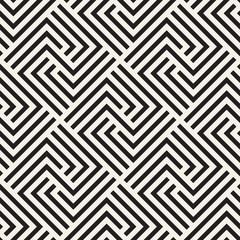 Vector seamless stylish pattern. Geometric striped ornament. Monochrome spiral lines lattice.