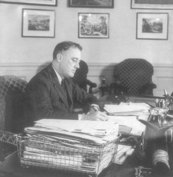 Franklin Roosevelt, at work during his first term in office. Ca. 1933-35. (bsloc_2013_5_113). For