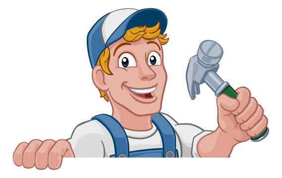 A handyman carpenter or builder cartoon man holding a hammer. Construction maintenance worker or DIY character mascot. Peeking over a sign