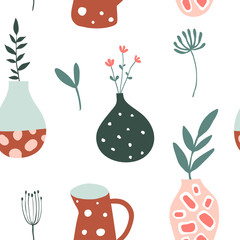 Seamless pattern with flower pots, vases and plants