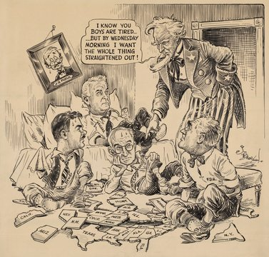 Cartoon about the U.S. 1944 Presidential Election. 'i know you boys are tired...but by Wednesday